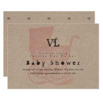 Vintage Girls baby Shower Invites Kraft Pram
