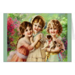 Vintage Girls Best Friends Birthday Greeting Card