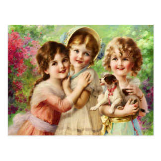 Vintage Girls Best Friends Postcard