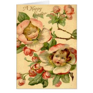 Vintage Girls In Flowers Easter Card