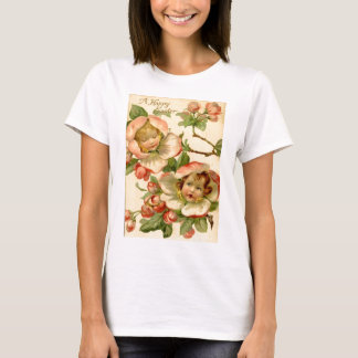 Vintage Girls In Flowers Easter Card T-Shirt