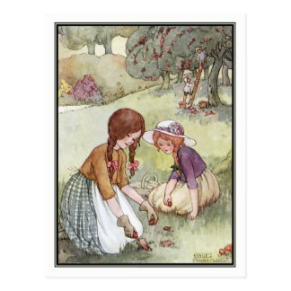 Vintage Girls in Orchard by Anne Anderson Postcard