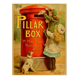 Vintage Girls Red Pillar Box Mail Postacrd Postcard