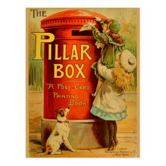 Vintage Girls Red Pillar Box Mail Postcard