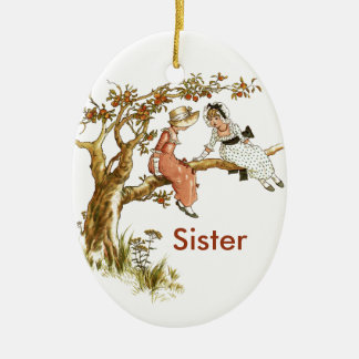 Vintage Girls Sisters Ceramic Ornament
