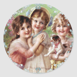 vintage-girls smilling classic round sticker