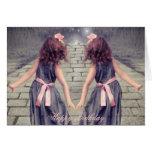 vintage girls twins alice in wonderland fashion card
