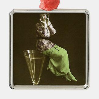 Vintage Girls up on wine glas Ornaments