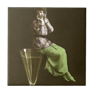Vintage Girls up on wine glas Tiles