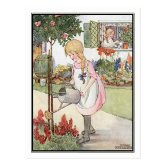 Vintage Girls Watering Plants by Anne Anderson Postcard