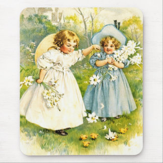 Vintage Girls with Chickens. Easter Gift Mousepad