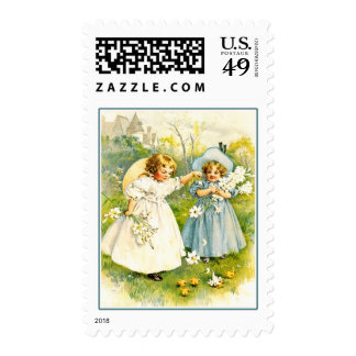 Vintage Girls with Chicks. Easter Postage Stamps