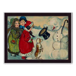 vintage girls with snowman poster