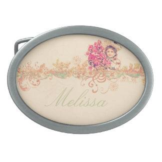 Vintage girly angel girl floral romantic victorian oval belt buckles