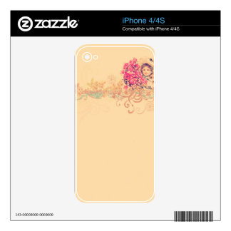 Vintage girly angel girl floral romantic victorian skins for iPhone 4