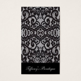 vintage girly black floral boho chic lace business card