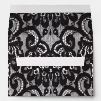 vintage girly black floral boho chic lace envelope