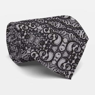vintage girly black floral boho chic lace tie