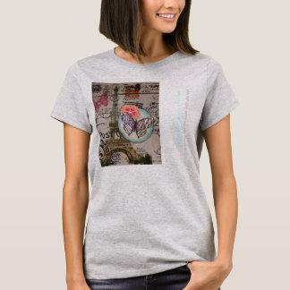 vintage girly eiffel tower paris fashion business T-Shirt