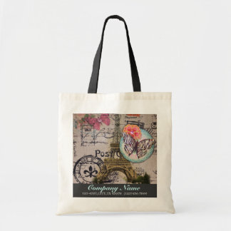 vintage girly eiffel tower paris fashion business tote bag