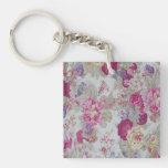 Vintage Girly Elegant Pink Roses Square Acrylic Key Chain
