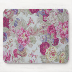 Vintage Girly Elegant Pink Roses Mouse Pad at Zazzle