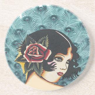 Vintage Girly Girl Peacock Coasters
