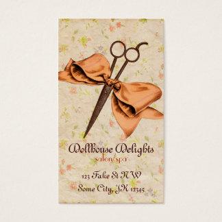 vintage girly hair stylist floral melon bow shears business card