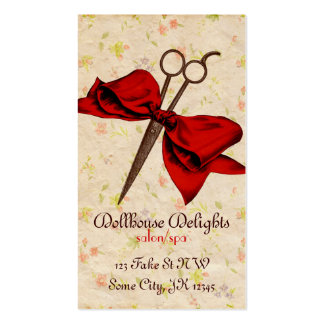 vintage girly hair stylist floral red bow shears Double-Sided standard business cards (Pack of 100)