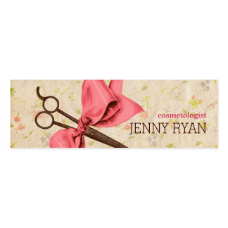 vintage girly hair stylist pink bow floral shears Double-Sided mini business cards (Pack of 20)