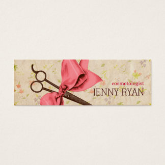 vintage girly hair stylist pink bow floral shears mini business card