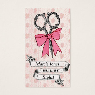 vintage girly hair stylist pink bow shears business card