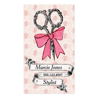 vintage girly hair stylist pink bow shears Double-Sided standard business cards (Pack of 100)