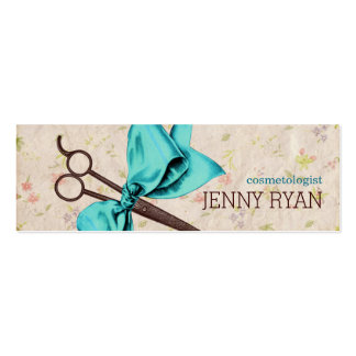 vintage girly hairstylist blue bow floral shears Double-Sided mini business cards (Pack of 20)