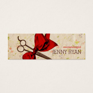 vintage girly hairstylist red bow floral shears mini business card