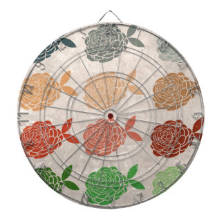 Vintage girly hipster floral romantic art deco dart board