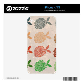 Vintage girly hipster floral romantic art deco decals for the iPhone 4S