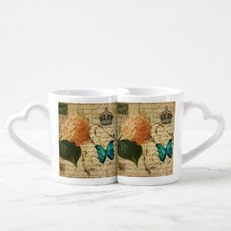 vintage girly Hydrangea butterfly botanical paris Couples' Coffee Mug Set