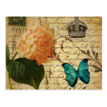 vintage girly hydrangea butterfly floral post cards