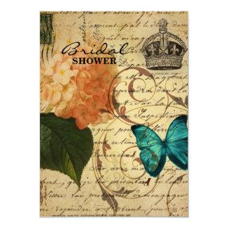 vintage girly Hydrangea butterfly swirls scripts 4.5x6.25 Paper Invitation Card