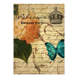 vintage girly Hydrangea butterfly swirls scripts Personalized Announcements