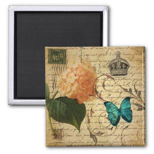 vintage girly Hydrangea butterfly swirls scripts Magnet