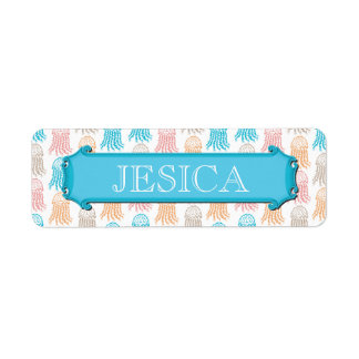 Vintage Girly Jellyfish Name Labels for SCHOOL