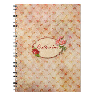 Vintage Girly Personalized Floral Notebook