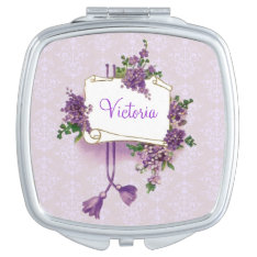Vintage Girly Personalized Lilacs Compact Mirror at Zazzle