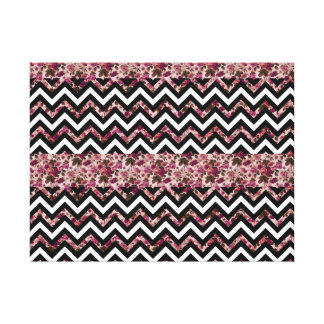 Vintage Girly Pink Chevron Floral Pattern Stretched Canvas Print