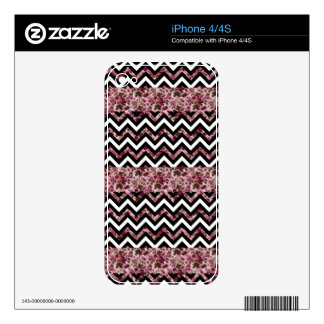 Vintage Girly Pink Chevron Floral Pattern Skins For iPhone 4S