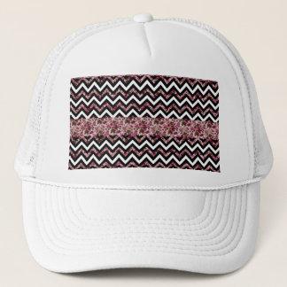 Vintage Girly Pink Chevron Floral Pattern Trucker Hat