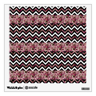 Vintage Girly Pink Chevron Floral Pattern Wall Decals