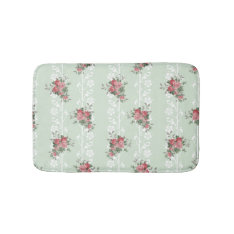 Vintage Girly Pink Floral Bath Mat at Zazzle